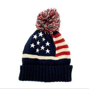 Patriotic American Flag Pom Pom Beanie